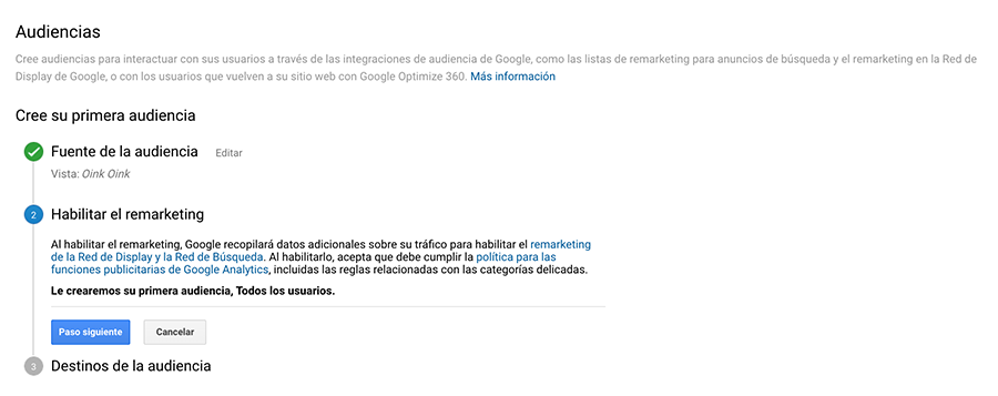 google analytics vincular cuentas