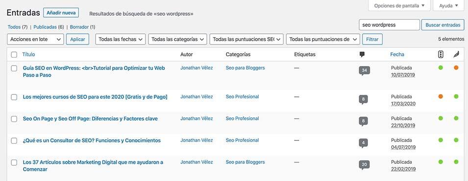 Localizar canibalizaciones WordPress