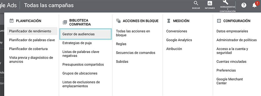 menú gestor audiencias google ads