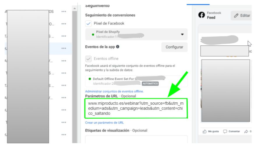 anuncio facebook ads con url parametros utm