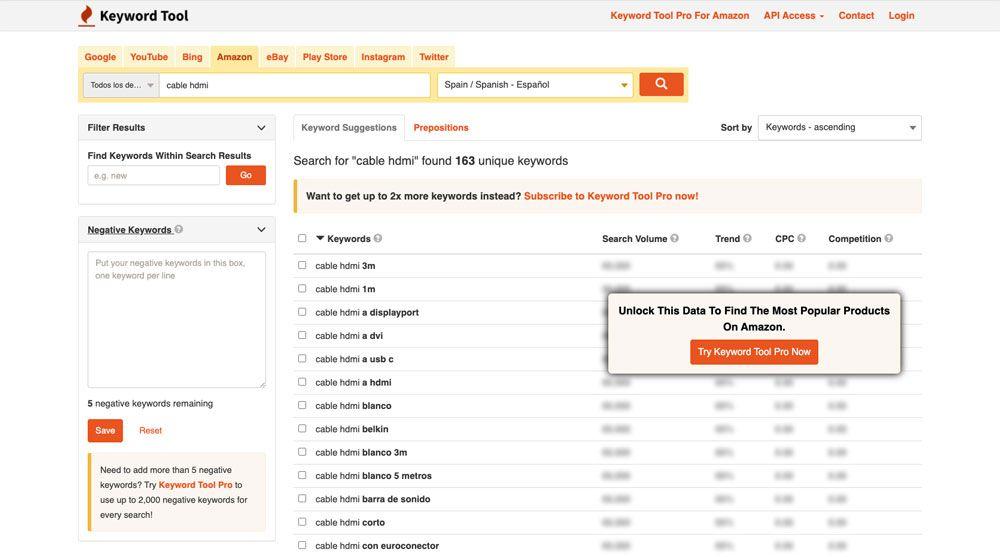 descubre términos de búsqueda y conoce su relevancia con keywordtool.io