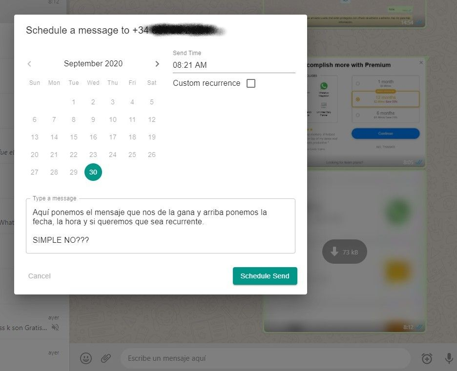 programar mensajes whatsapp con google chrome