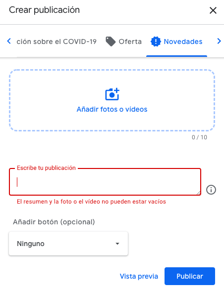 google my business crear publicacion