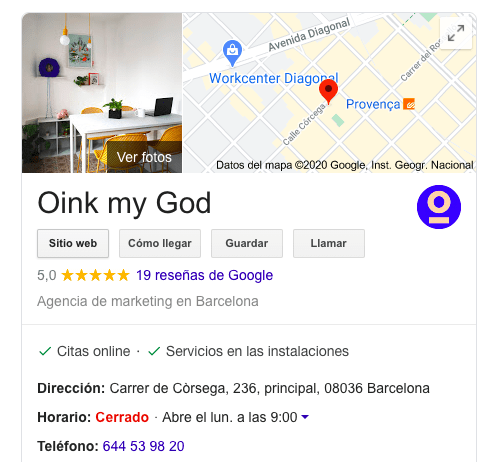 google my business ejemplo oink my god