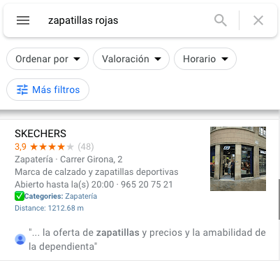 google my business ejemplo skechers