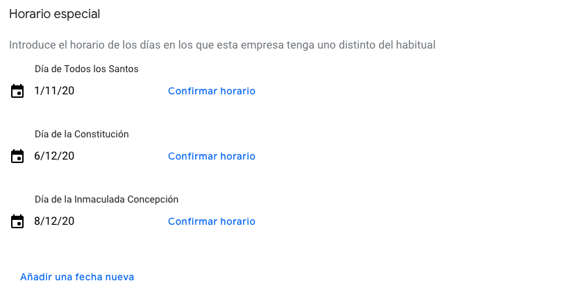 google my business horario especial