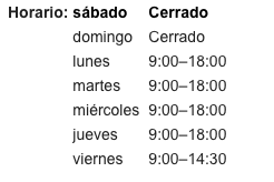 google my business horarios de apertura