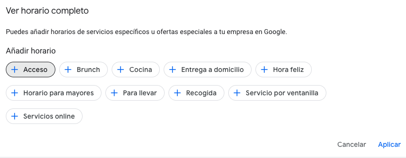 google my business horarios especificos