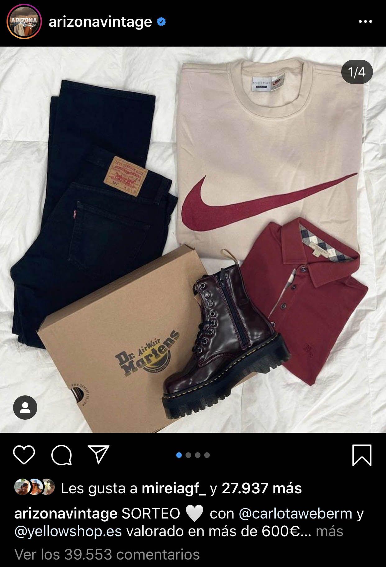 ejemplo sorteo en instagram arizona vintage
