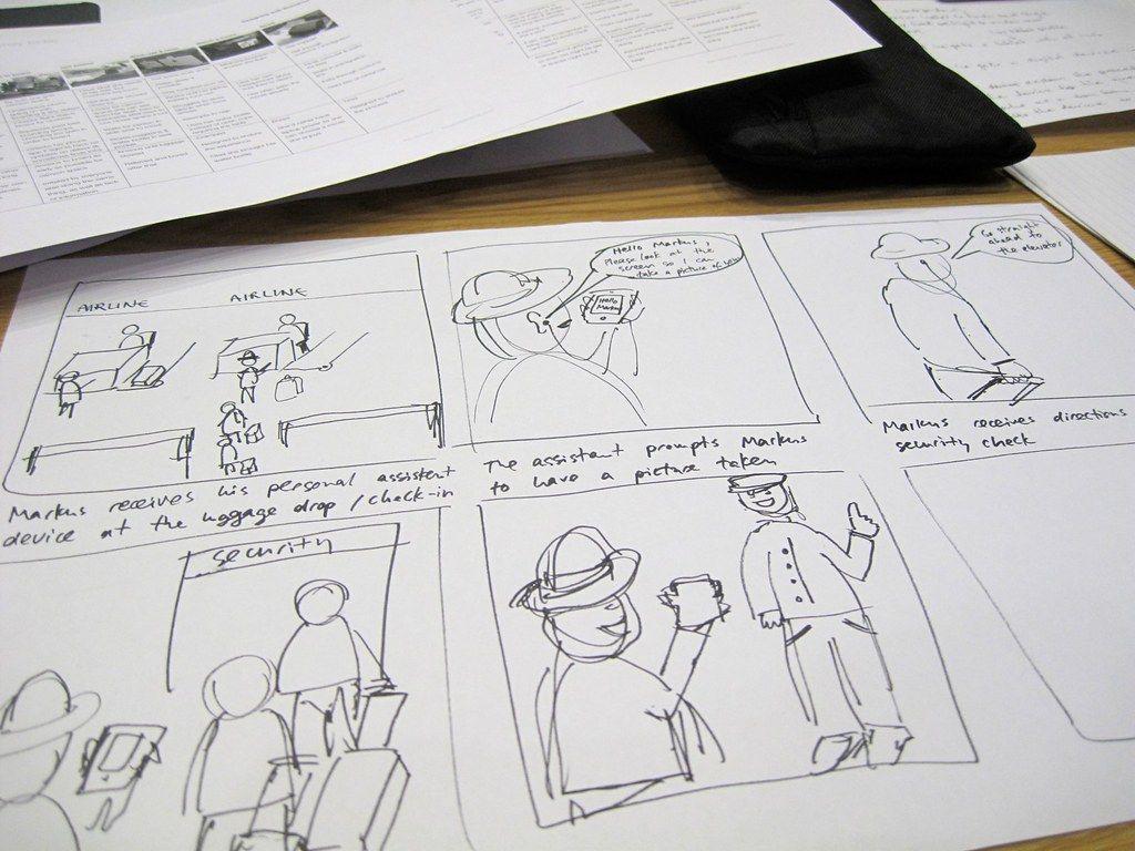 ejemplo de storyboard en papel