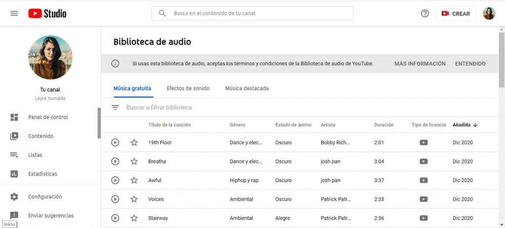 youtube banco de sonidos gratis