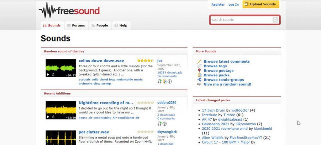 freesound banco de sonidos gratis