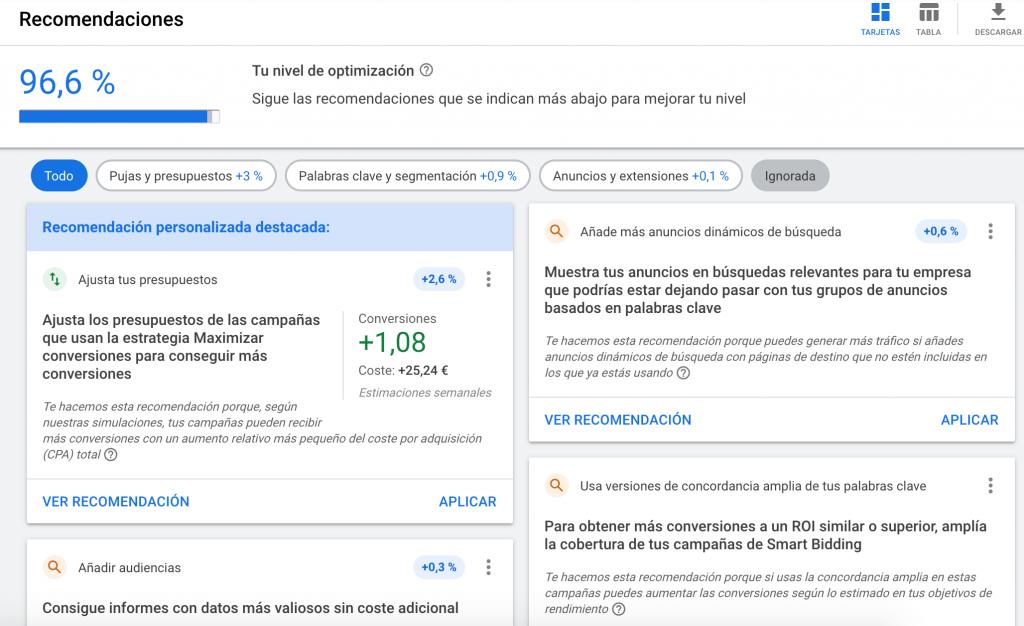 recomendaciones google ads optimizar anuncios