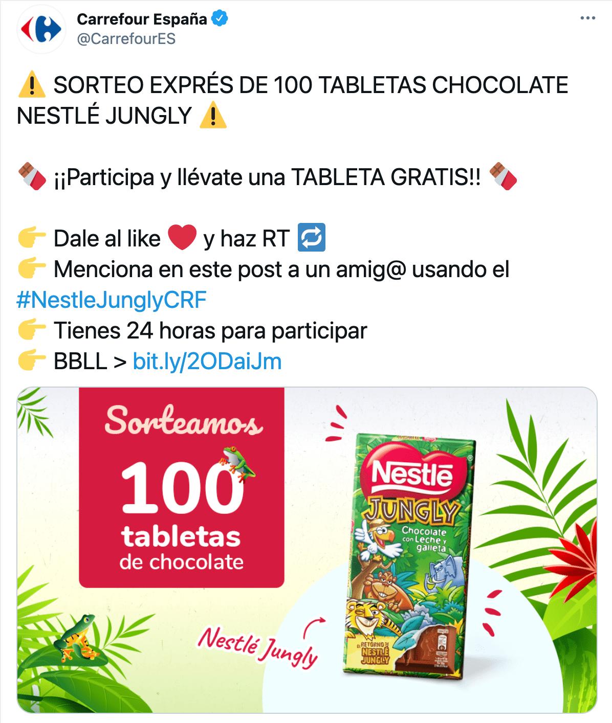 Nestlé Jungly Twitter Carrefour estrategia marketing