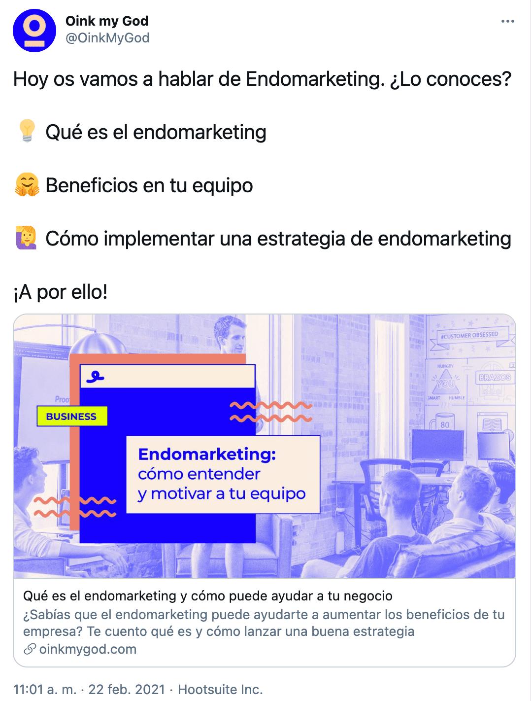 estrategia marketing twitter oink contenido educacional