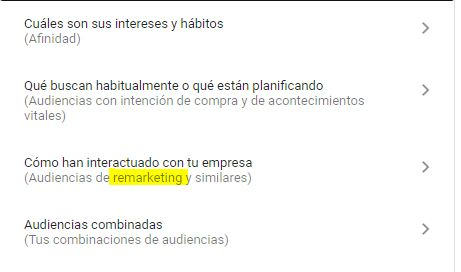 audiencia remarketing google ads