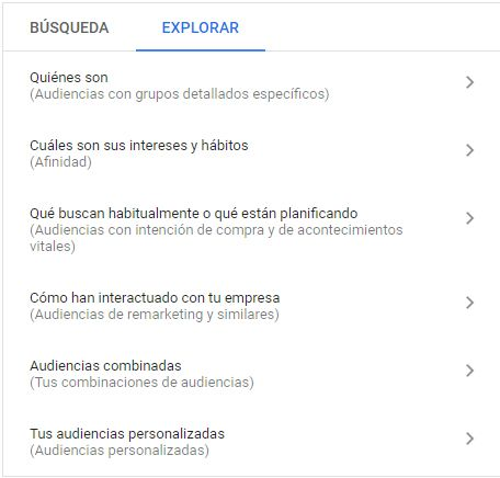 audiencias explorar google ads