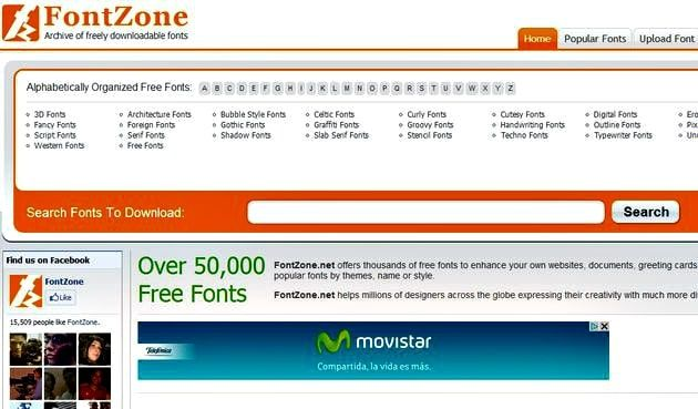 Banco de tipografía FontZone landpage