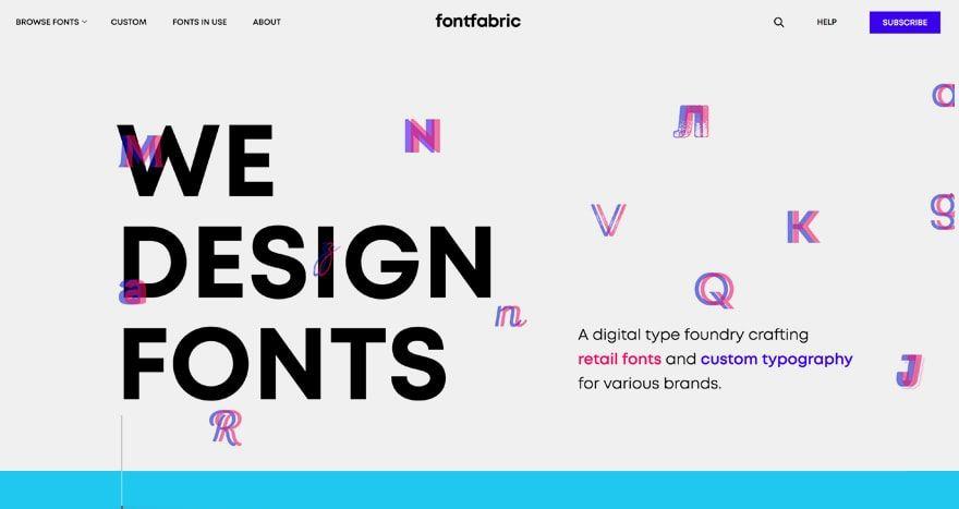 Banco de tipografía Fontfabric landpage