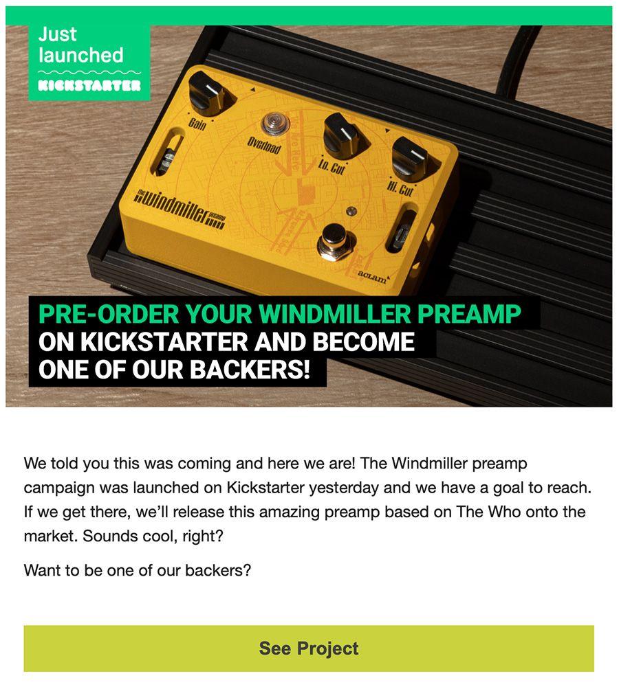 ejemplo newsletter kickstarter aclam
