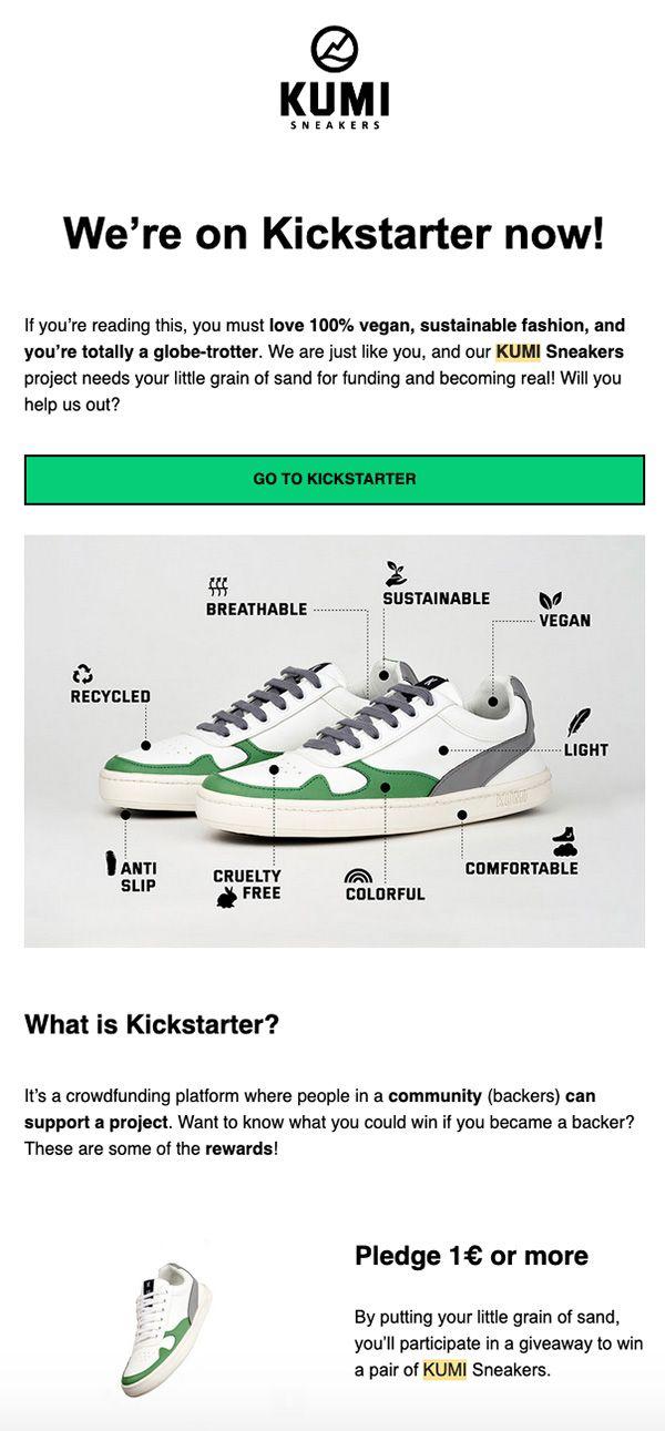 ejemplo newsletter kickstarter kumi