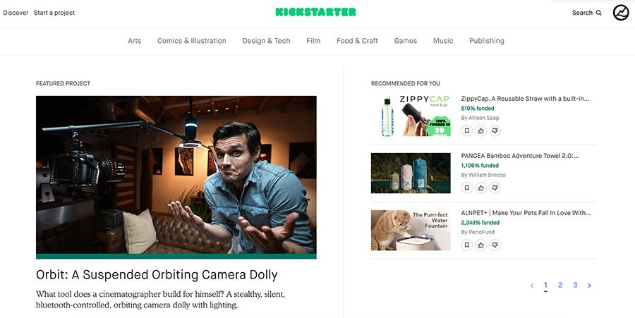 ejemplo pagina principal kickstarter