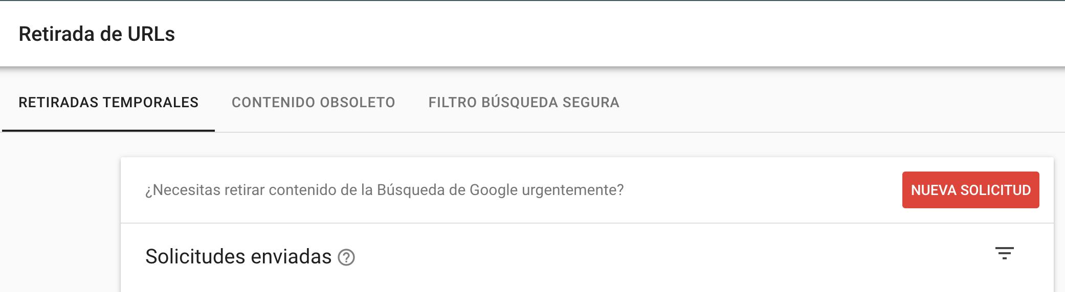 Google Search Console Retirada URLS