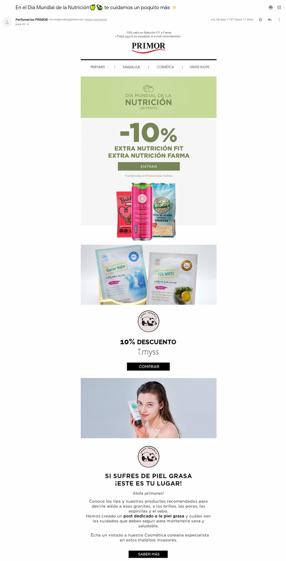 ideas para email marketing ejemplo primor nutricion