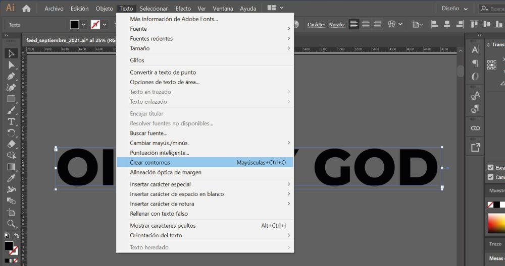 crear contornos tipografia